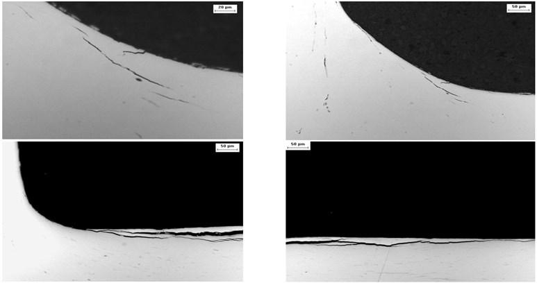 Cross sections carried out on the wear tracks: microcracks (R260 steel)