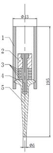 Ultrasonic transducer: 1 – frame; 2 – back mass; 3 – piezoelectric ceramics;  4 – bolt; 5 – front mass (its top is transducer head)