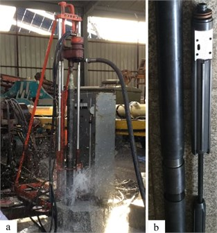 Experimental prototype of the liquid-jet hammer: a) process of drilling by the use  of the liquid-jet hammer; b) structure of the liquid-jet hammer manufactured