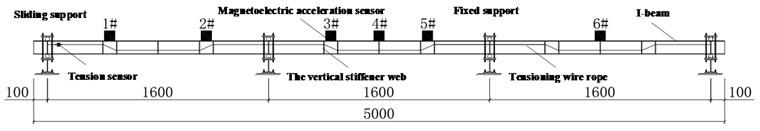 General arrangement diagram of continuous steel beam (unit: mm)