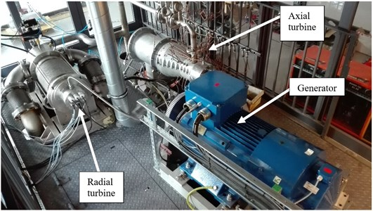 The ORC turbogenerators with their accessories  and measuring devices, placed on the supporting structure