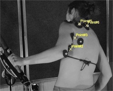 View of the measurement setup and the markers location on the body of the surfer:  a) experimental setup and markers placements over competitor's body,  b) vision-based measurements system: HSC – High Speed Cameras, HL – Halogen Lamps