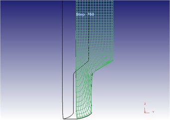 Two-dimensional grid flow line after metal molding under the vibration extrusion