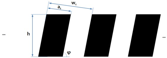 Numerical models of vertical a) and oblique grating lines b) represented  by binary arrays and their main characteristics