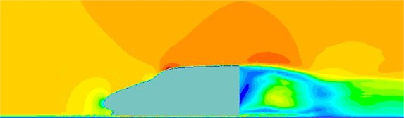 Velocity contours of the high-speed train cabin