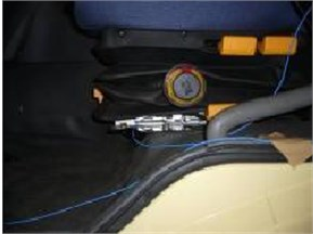 The position of the acceleration sensors for the commercial vehicle