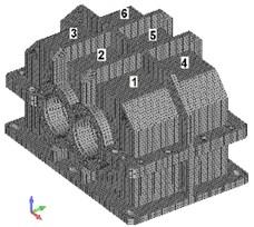 Arrangement of points P1-P6 for vibration velocity measurements on the housing