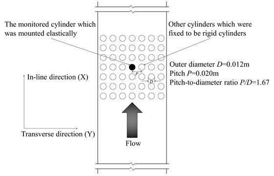 Schematic of the cylinder array installed in the test section of the experimental apparatus