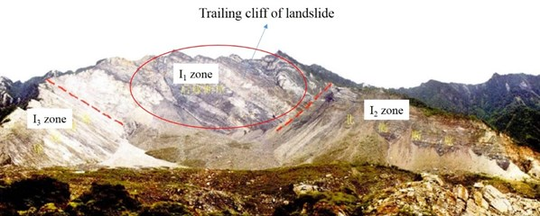 Residual cliff at trailing edge of Daguangbao landslide [16]
