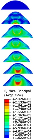 Strain contours of the cell under 0.3g acceleration for different frequencies  and in X-direction, Y-direction and Z-direction