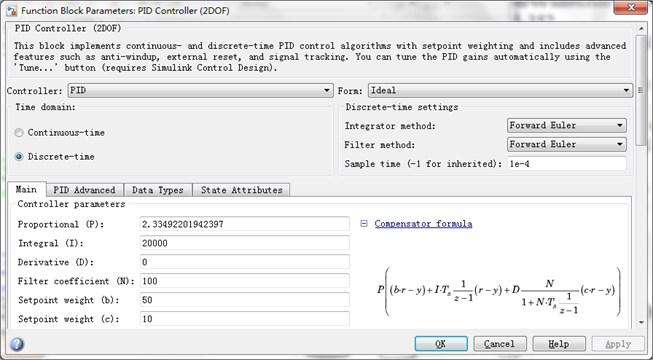 Parameter setting panel of 2DOF PID