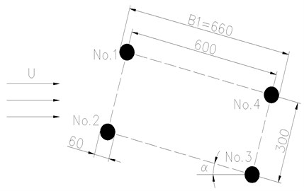 Diagram of the wind field around the hangers