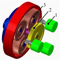 Prototype of multi-motor torque coupling system. (1 – motor; 2 – torque coupling gear set;  3 – planetary gear set)