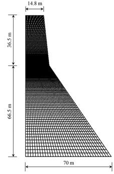 a) Finite element model, b) damage scenarios