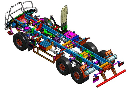 The full assembly frame of high mobility wheeled platform [15]