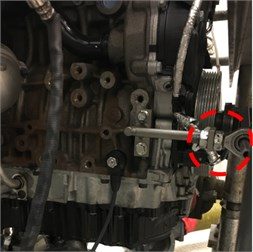 Accelerometers placed on the engine block