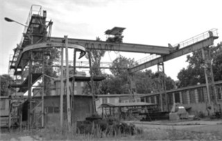 """Experimental research crane – Research and Development Centre of Cranes Transport  and Equipment """"Detrans"""" in Bytom, movable winch, arm of the guide rollers"""