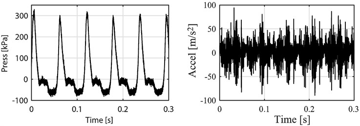 Pressure and vibration signal in time domain