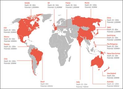 Quantified global resource of 25GW, equivalent to 16,000 turbine sales.  Source: Atlantis Resources, October 2014