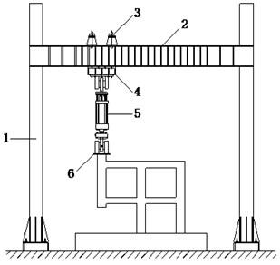 Loading equipment. (Note: 1. Column; 2. Load-carrying beam;  3. Girder; 4. Box-girder; 5. Hydraulic jack; 6. Steel inserted plate)