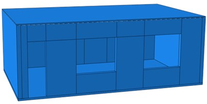 Geometric model and finite element model of the single-storey building