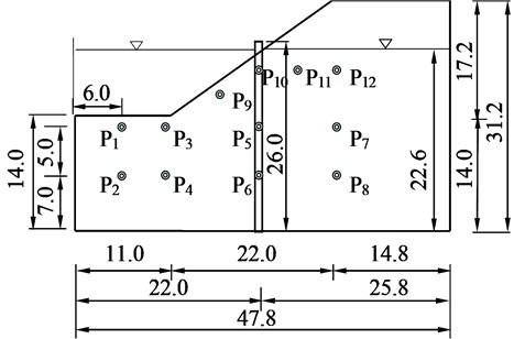 Arrangement of micro-porous pressure meter in model slope (unit: cm)