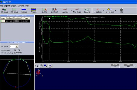 Natural frequency and damping factor plot by DeweFRF,  EN 8 BS crack, crack details: L1/L=0.33; a/H= 0.8