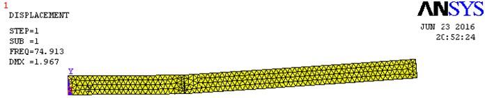 Natural frequency plot, EN 47 TS crack, crack details: L1/L= 0.33; a/H= 0.8