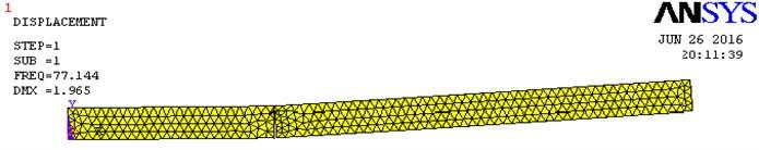 Natural frequency plot, EN 8 BS crack, crack details: L1/L=0.33; a/H= 0.8