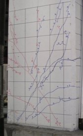 Crack patterns of shear tests at the 1st cycles of 1.5% and 3.0% drift ratios