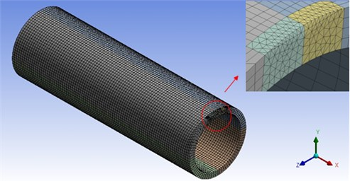 Mesh constructed by ANSYS for half tube