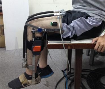 A subject wearing exoskeleton performing periodic leg exercise