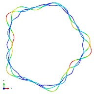 The first ten mode shapes. a)-j) show the mode shapes from 1st to 10th, the left one of each part is the result of IGA (drawn by Tecplot), the right one is the result of ABAQUS