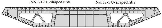 Diagram of steel box girder cross section