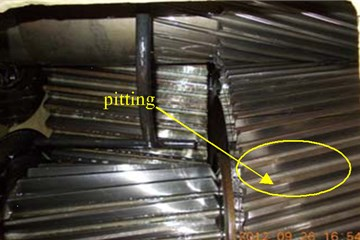The pitting faults in secondarylevel meshing gear