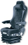 a) Vehicle driver´s seat, b) Springing seat support with a hydraulic damper,  c) Springing seat support with two air springs