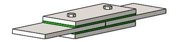 The double shear lap joint structure with viscoelastic layers