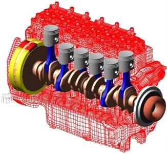 Virtual cranktrain assembled in multibody system