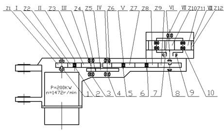 Schematic of shearer cutting unit