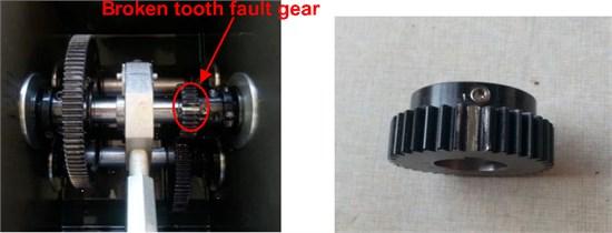 Broken tooth fault gear