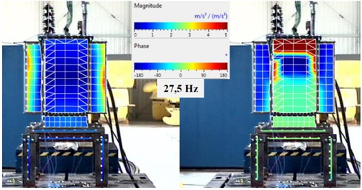 The vibration image for the resonant frequency 27.5 Hz, the magnitude (left)  and phase (right) – test 1