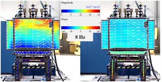 The vibration image for the resonant frequency 8 Hz, the magnitude (left) and phase (right) – test 1