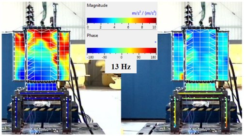 The vibration image for the resonant frequency 13 Hz, the magnitude (left) and phase (right) – test 1