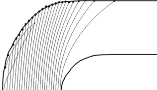 The particle trajectories diameter of 500 microns
