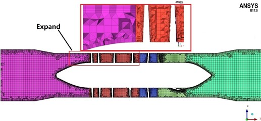 Cross section of mesh