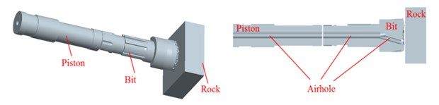 Pistons-drill-rock three-dimensional solid model: a) bit, b) piston,  c) pistons-drill-rock model and its inner structure