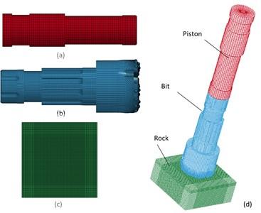 Grid meshing for FEA model: a) piston meshing, b) bit meshing,  c) rock meshing, d) piston-drill-rock meshing