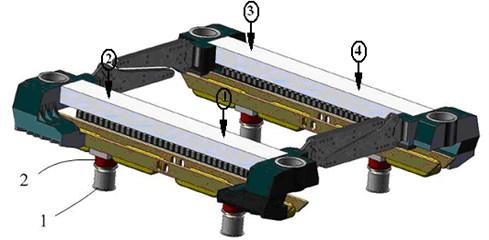 Configuration of the test platform. 1 – jack, 2 – pressure sensor, (1)-(2) – displacement sensor