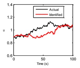The actual and identified hysteretic parameters