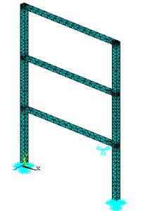The model of the three-storey structure in the ANSYS software